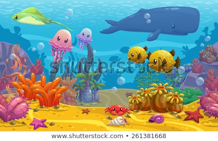 funny cartoon with sea life background stock photo © jawa123