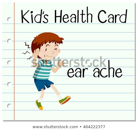 Health card with little boy and earache Stock photo © bluering