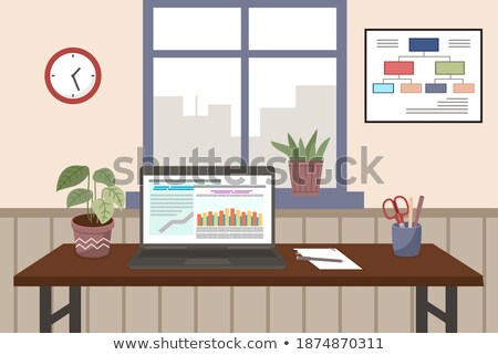 desktop computer with finance growth report accounting statistics on screen business concept stock photo © customdesigner