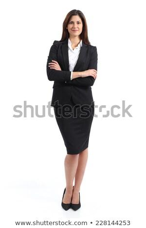 sorridere · bruna · donna · abito · nero · piedi · braccia - foto d'archivio © deandrobot