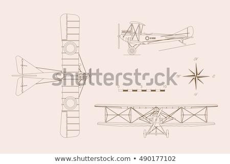 Sziluettek öreg repülőgép kontúrok utazás repülőgép Stock fotó © gomixer