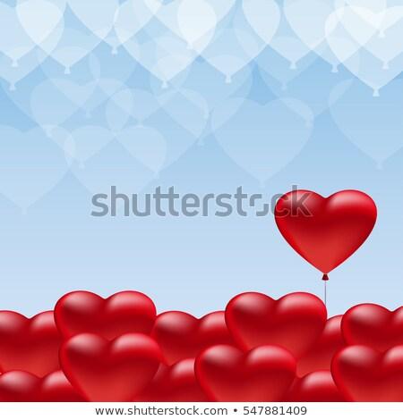 Stockfoto: Bos · hart · ballonnen · blauwe · hemel · eps