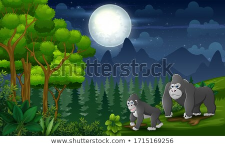 Baby Mountain gorilla playing in a tree. Stock photo © simoneeman