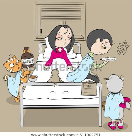 женщину пациент кровать врач кошки Медик Сток-фото © orensila