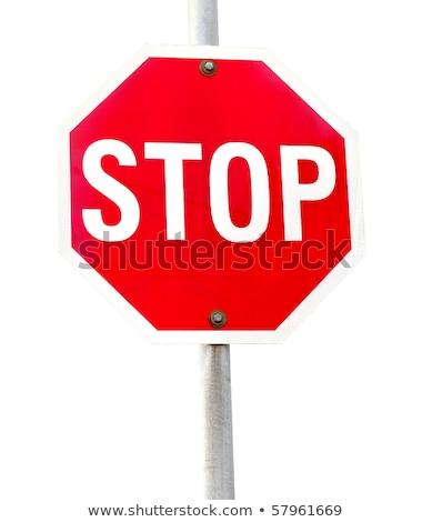 traffic sign compulsory highway code stop symbol white backgroun stock photo © kayros
