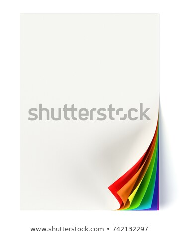 Rainbow colored curled corner on a blank document mock up Stock photo © pakete