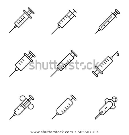 Injekciós tű egyszerű ikon injekció oltás szimbólum Stock fotó © gomixer