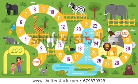 Kinderen dierentuindieren bordspel sjabloon vector stijl Stockfoto © curiosity
