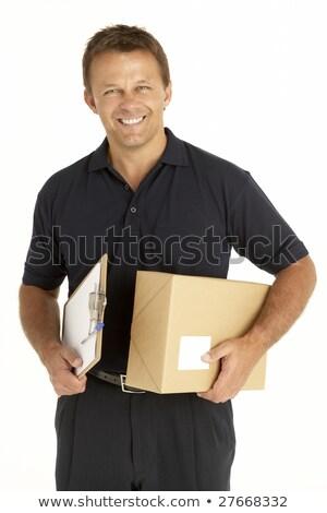 correio · pacote · clipboard · feliz · caixa - foto stock © monkey_business