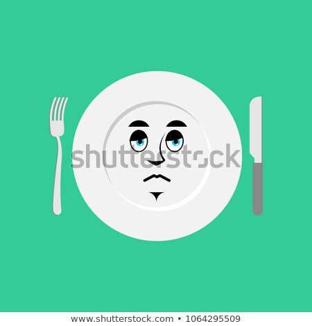 Plate sad Emoji. Empty dish isolated sorrowful emotion Stock photo © popaukropa
