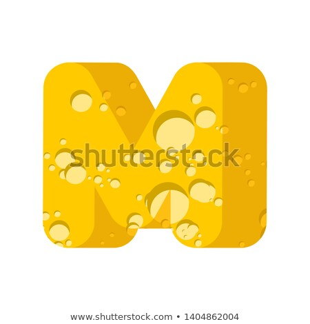 Letter M cheese font. Symbol of cheesy alphabet. Dairy Food type Stock photo © popaukropa