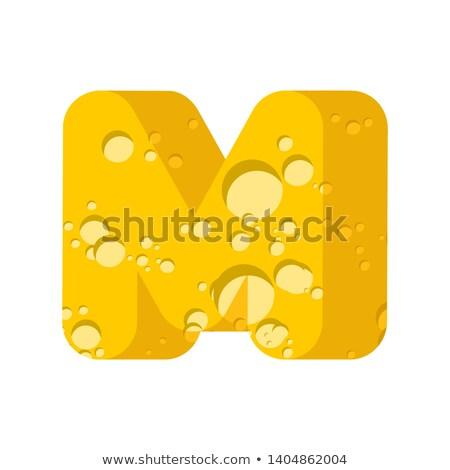 Mektup m peynir simge alfabe mandıra Stok fotoğraf © popaukropa