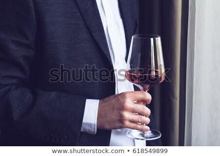 Man venster wijnglas huis voedsel wijn Stockfoto © IS2