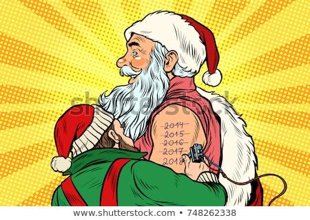 Elf kerstman tattoo gelukkig nieuwjaar pop art retro Stockfoto © studiostoks