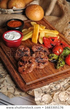 Klopsiki żywności tle mięsa burger posiłek Zdjęcia stock © yelenayemchuk