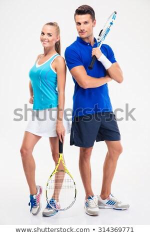Portret mooie vrouw sportkleding Stockfoto © deandrobot