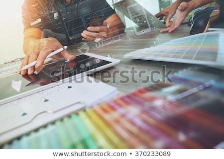Grafikai tervezés laptop képernyő közelkép modern iroda Stock fotó © tashatuvango