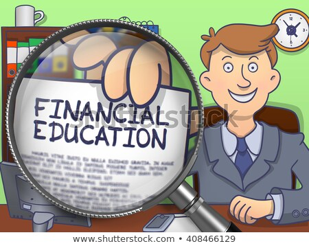 financial education through magnifier doodle concept stock photo © tashatuvango