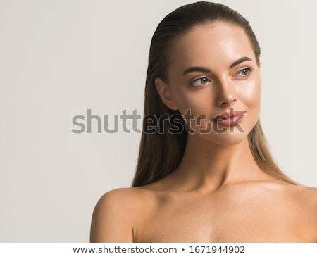 mujer · bonita · dedo · labios · jóvenes · mujer · de · negocios - foto stock © nobilior