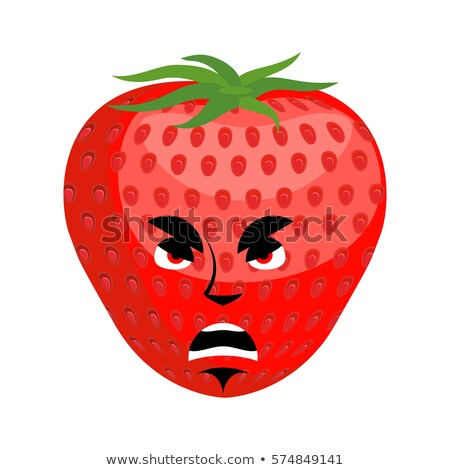 Strawberry angry Emoji. Red berry evil emotion isolated Stock photo © popaukropa