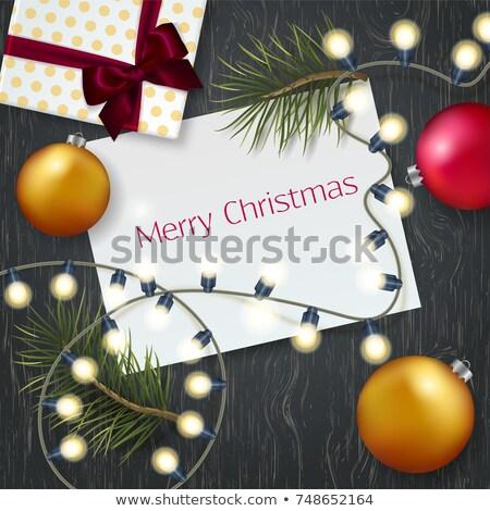 веселый · Рождества · Vintage · гирлянда · карт · цветами - Сток-фото © articular