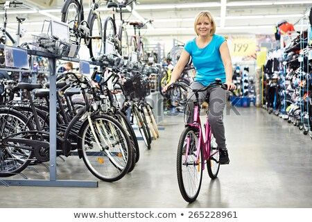 tienermeisje · fiets · portret · paardrijden · zomer · park - stockfoto © is2