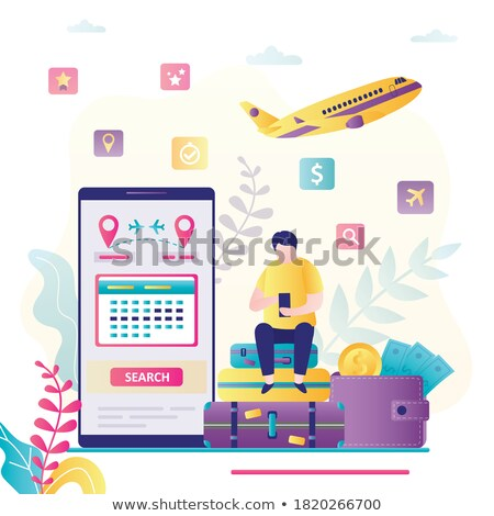 Man buying electronic ticket for airplane with mobile phone app Stock photo © stevanovicigor
