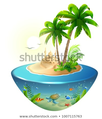 Paradise tropical island in sea. Palm, sand castle and sea turtle. Summer beach vacation holidays Stock photo © orensila