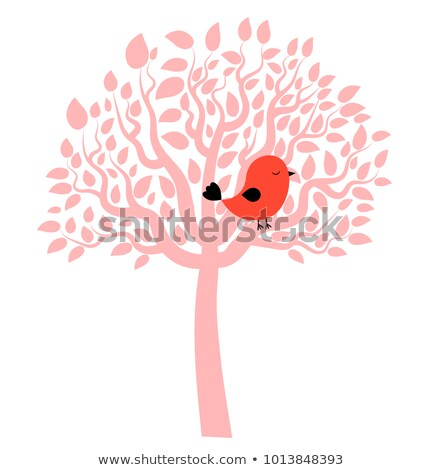 vector drawing of little red bird perched on a pink tree stock photo © pravokrugulnik