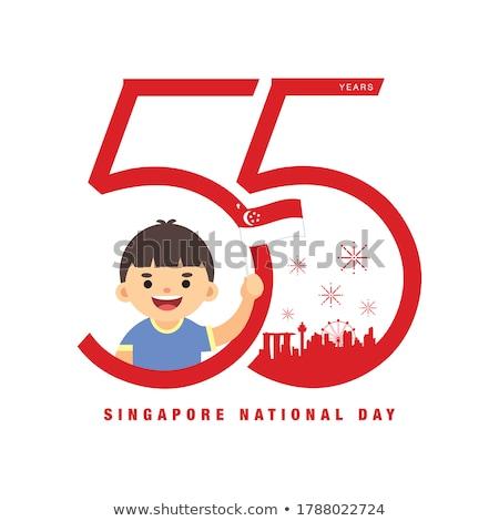 Singapur patriota odizolowany biały mężczyzna sportowe Zdjęcia stock © rogistok