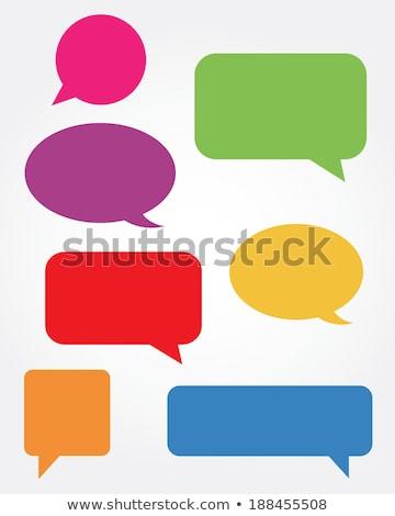 szövegbuborék · gyűjtemény · gradiens · háló · kéz · felirat - stock fotó © barbaliss