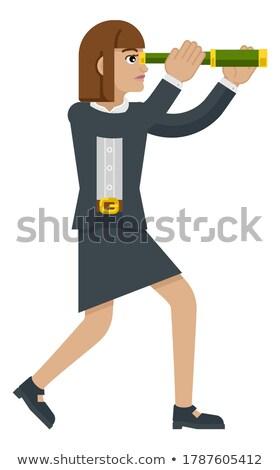 3D mulher de negócios olhando binóculo futuro visão Foto stock © texelart
