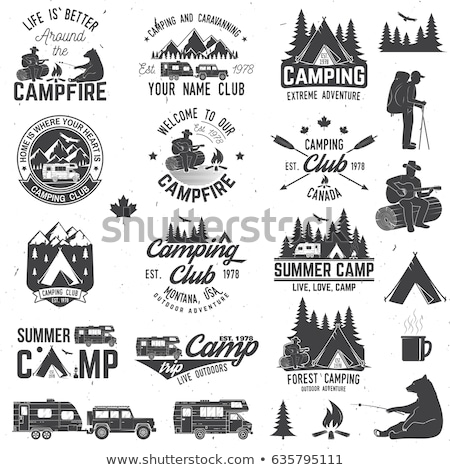 Camping trailer isolated labels set stock photo © studioworkstock