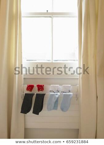 Zokni akasztás fogas radiátor ablak Stock fotó © IS2