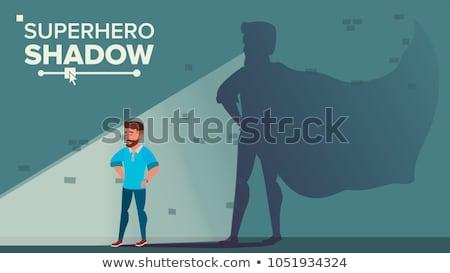 Biznesmen superhero cień wektora udany osiągnięcie Zdjęcia stock © pikepicture