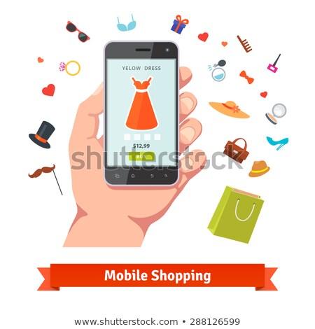 compras · mujer · vector · nina · alimentos · pelo - foto stock © lordalea