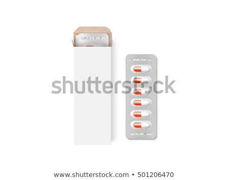 Tablets paper box packaging mock up template isolated. Blister i Stock photo © popaukropa