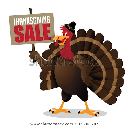 pilgrim turkey bird cartoon mascot character holding a happy thanksgiving sale sign stock photo © hittoon