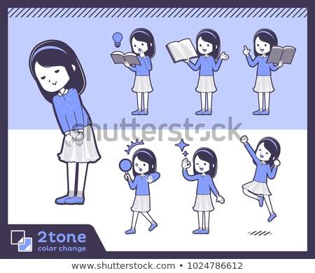 2tone type Blue clothes headband girl_set 05 Stock photo © toyotoyo