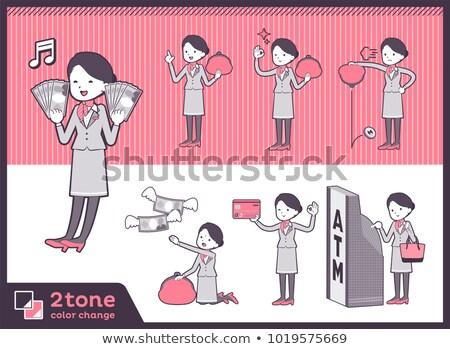 Tipo cabine escritório dinheiro mulheres compras Foto stock © toyotoyo
