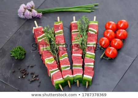 Nyers hús nyárs vacsora fehér ebéd Stock fotó © M-studio