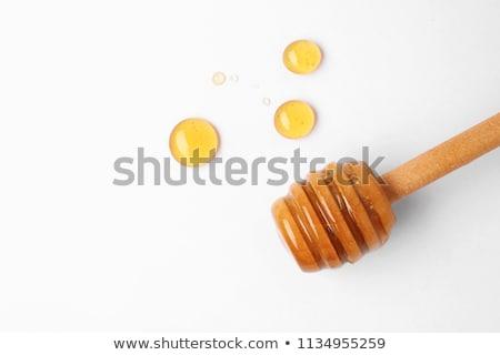 gocce · fresche · miele · vetro · jar · tavolo · in · legno - foto d'archivio © rob_stark