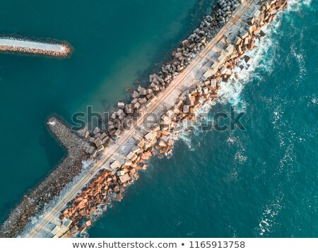 Aerial views Port Kembla Breakwall Stock photo © lovleah