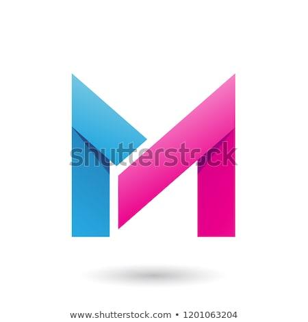 Mavi katlanmış kâğıt mektup m vektör örnek Stok fotoğraf © cidepix