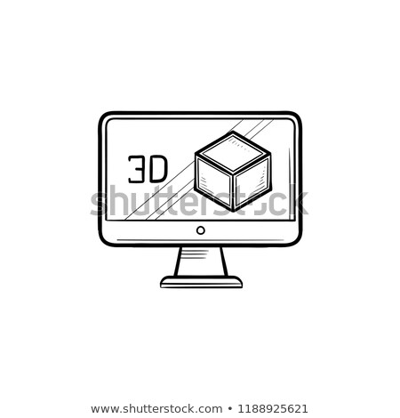 computer monitor with 3d box hand drawn outline doodle icon stock photo © rastudio