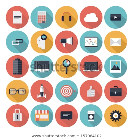Modern flat icons vector collection in stylish colors of web design objects Stock photo © makyzz