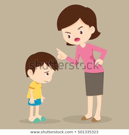 Angry Mother Scolding Her Son Vector. Isolated Illustration Stock photo © pikepicture