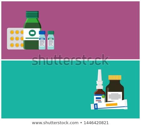 Foto stock: Farmácia · teia · cartaz · cair · pomada