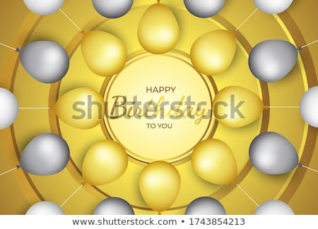 Happy birthday vector Celebration party banner Golden foil confetti and white and glitter gold ballo stock photo © olehsvetiukha