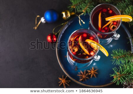 Christmas dekoracje około hot napój powyżej Zdjęcia stock © dash